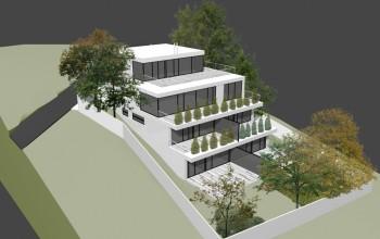 Model - osadenie domu do pozemku. Južná orientácia svahu vytvára možnosť domu s preslnenými terasami s pekným výhľadom na celé okolie.