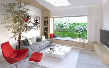 """Zámer bol dosiahnuť svetlý a hravý interiér v dome, ktorý sme nenavrhovali. V obývacej izbe sme dostali k dispozícii netradičné okno s nízkym parapetom s výhľadom do záhrady. Z neho sa odvinul hlavný motív - origami - hravý nábytok na mieru, ktorý sa ako had """"ťahá"""" celým priestorom. V časti pod oknom je využitý ako sedenie pre hostí, prípadne ako lehno na relax a čítanie."""