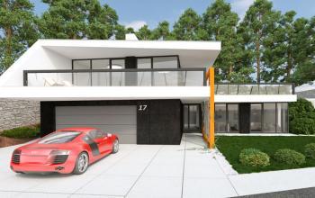 Celkový pohľad na dom zo strany od ulice - vjazd do garáže, hlavný vstup a home office na prízemí. Obytná časť na poschodí s priamym výstupom na veľkú slnečnú terasu a do záhrady smerom na juh.