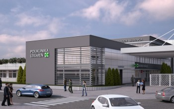 Pohľad z ulice - vstupné priestory a novo vybudovaná lekáreň.