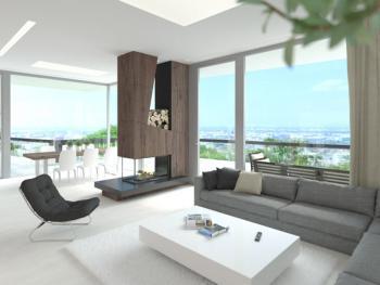 Riešenie interiéru rodinného domu je vzhľadom na umiestnenie a orientáciu pozemku nad Bratislavou vcelku jednoznačné. Presklenné steny, vysoké stropy a priestranná terasa tvoria maximálne možné prepojenie dennej časti domu s nádherným slnečným výhľadom na mesto.Do toho akoby v priestore voľne pohodený dizajnový prvok krbu z obkladových dosiek so štruktúrou drevodekoru dodáva priestoru šmrnc, eleganciu, vážnosť a špecifický charakter.Zároveň nerušene rozdeľuje sedaciu časť obývacej izby od jedálenskej časti.